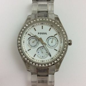 Fossil Ladies Stella Watch Clear Pave Silver Tone